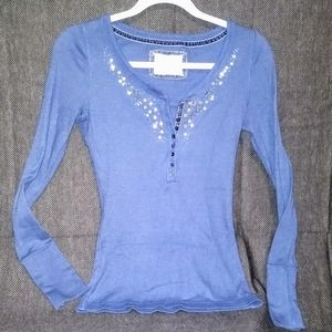 Aeropostale- Blue/Sequined Long Sleeve Thermal